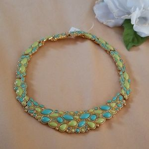 Gold tone with neon green statement choker